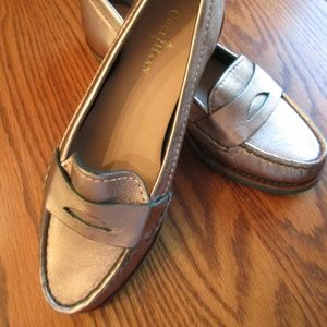 NWOT Cole Haan Silver Bronze Loafers 5 B